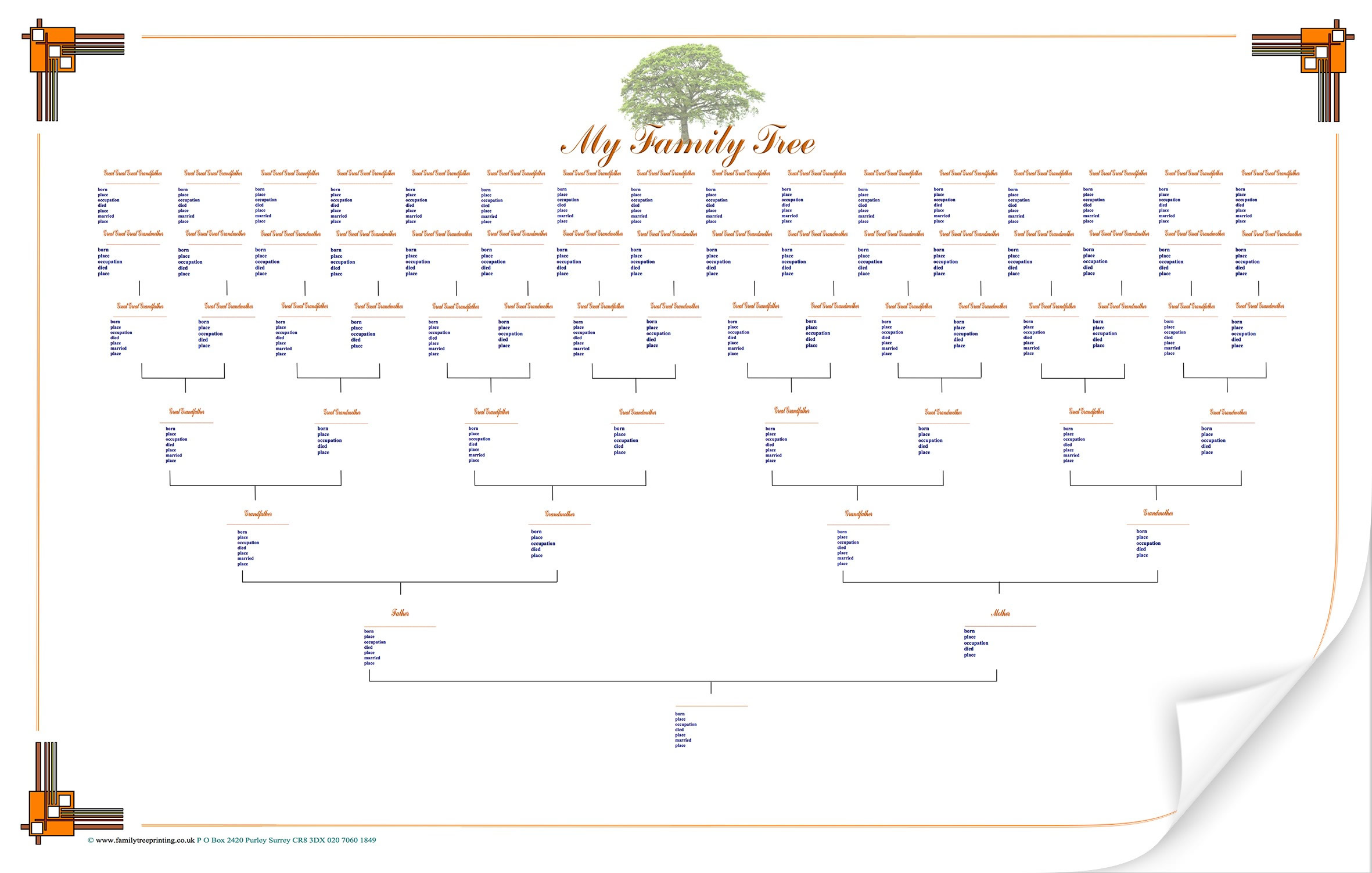 blank family tree chart template